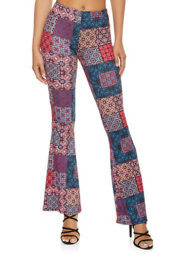Printed Flared Pants,TEAL,large