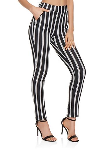 Striped Skinny Pants,BLACK,large