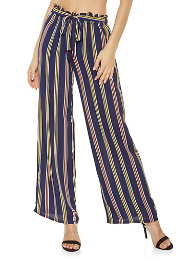 Striped Tie Front Palazzo Pants,NAVY,large