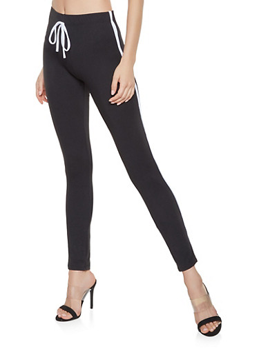 Soft Knit Varsity Stripe Leggings,BLACK,large