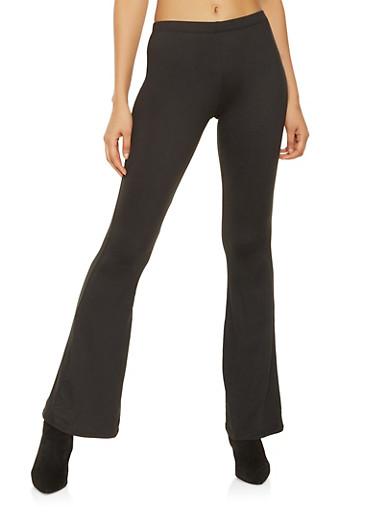 Solid Flared Pants,BLACK,large