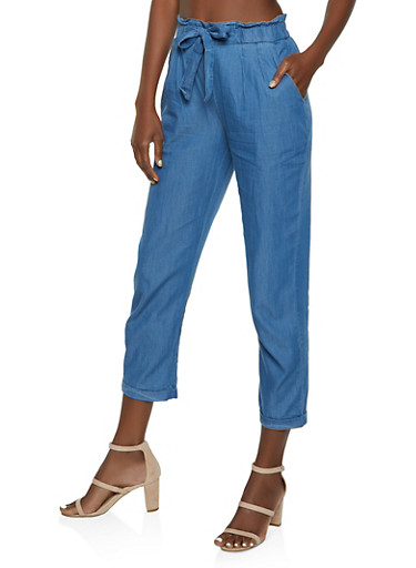Chambray Tie Front Paper Bag Waist Pants by Rainbow