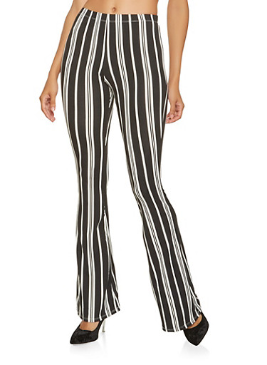 Printed Soft Knit Flared Pants,BLACK/WHITE,large