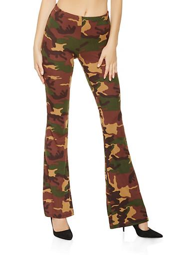 Printed Soft Knit Flared Pants,OLIVE,large