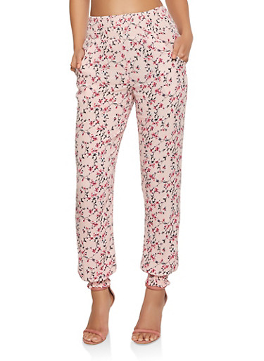 Smocked Floral Joggers,PINK,large