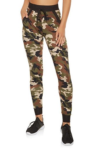 Soft Knit Camo Sweatpants,OLIVE,large