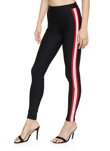 Striped Glitter Trim Dress Pants,RED,large