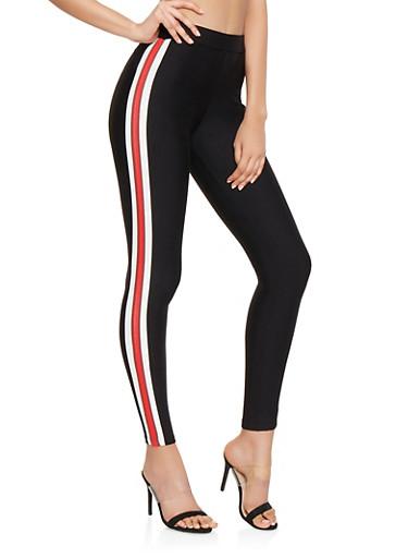 Side Stripe Pull On Ponte Pants,RED,large