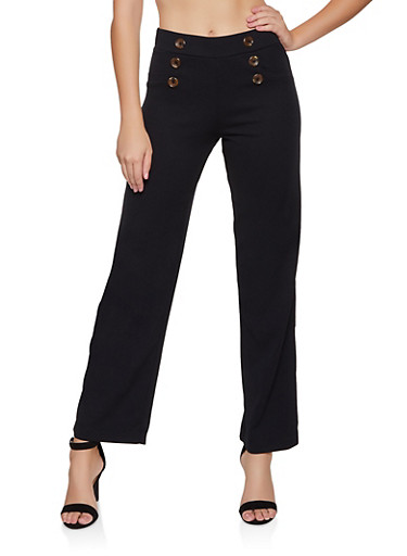 Button Detail Dress Pants,BLACK,large
