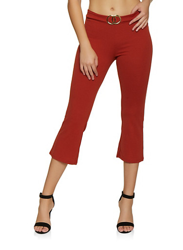 Double O Ring Detail Cropped Dress Pants,RUST,large