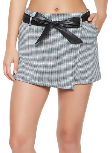 Houndstooth Pattern Knit Skort,BLACK/WHITE,large