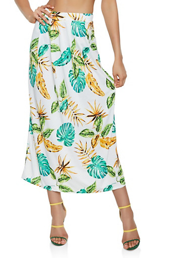 Floral Midi Pencil Skirt,OLIVE,large