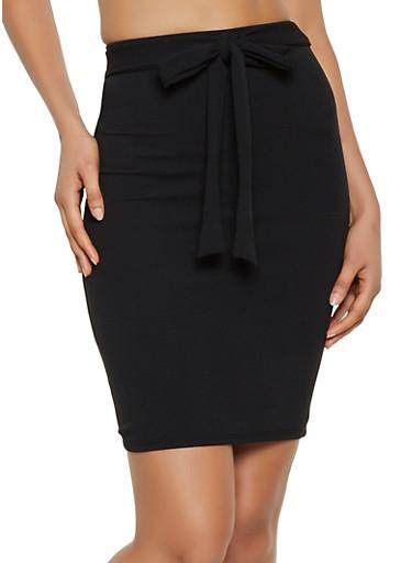 Tie Front Pencil Skirt,BLACK,large