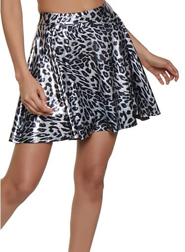 Foil Leopard Mini Skater Skirt,SILVER,large