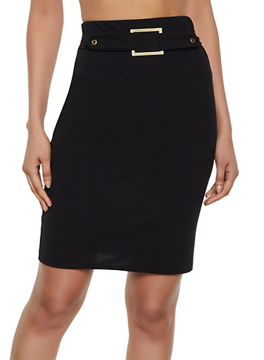 Buckle Detail Midi Pencil Skirt,BLACK,large