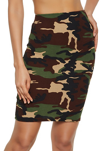 Camo Pencil Skirt,OLIVE,large