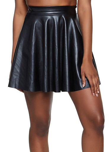Faux Leather Mini Skater Skirt | 3062020626889,BLACK,large