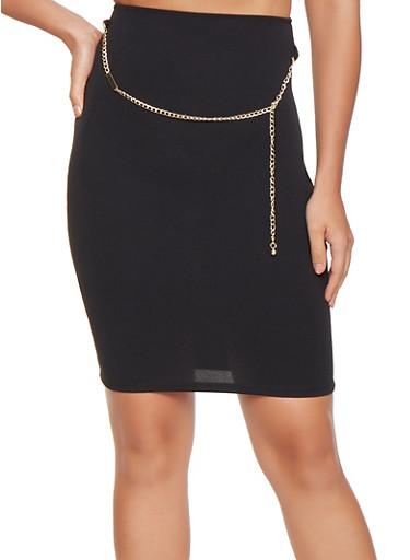Crepe Knit Pencil Skirt,BLACK,large