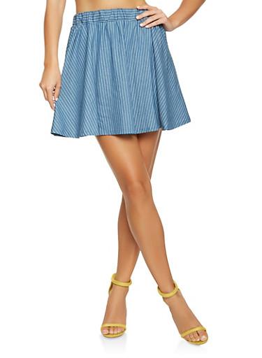 Chambray Mini Skater Skirt,BABY BLUE,large