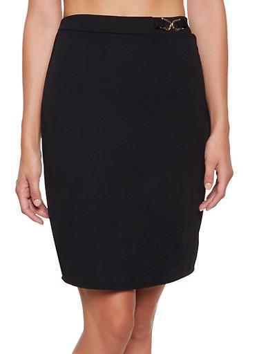 Crepe Metallic Detail Pencil Skirt,BLACK,large