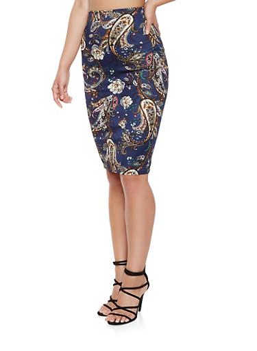 Paisley Print Midi Pencil Skirt,NAVY,large