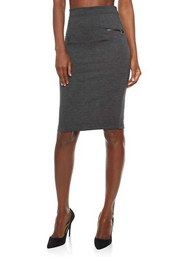 Soft Knit Pencil Skirt with Zipper Details,GRAY,large