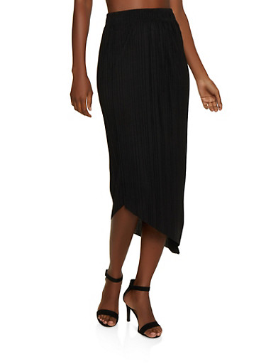 Pleated Asymmetrical Maxi Skirt,BLACK,large
