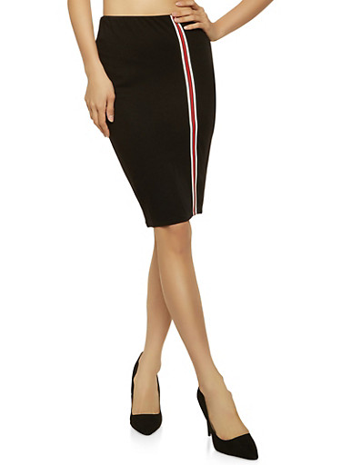 Striped Tape Trim Pencil Skirt,RED,large
