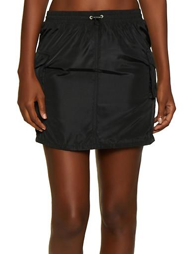 Nylon Cargo Skirt,BLACK,large