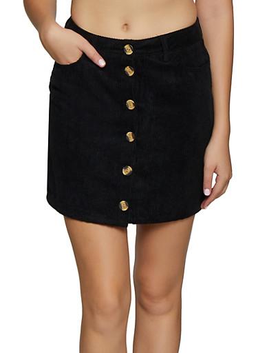 Button Front Mini Corduroy Skirt,BLACK,large