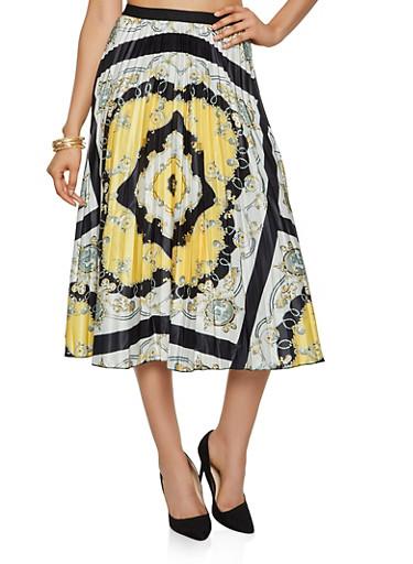 Printed Midi Skater Skirt,BLACK,large