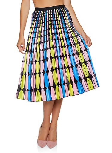Printed Midi Skater Skirt,YELLOW,large