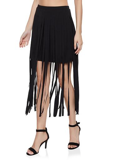 Fringe Mini Skirt,BLACK,large