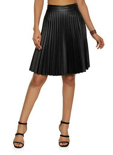 Pleated Faux Leather Skater Skirt,BLACK,large