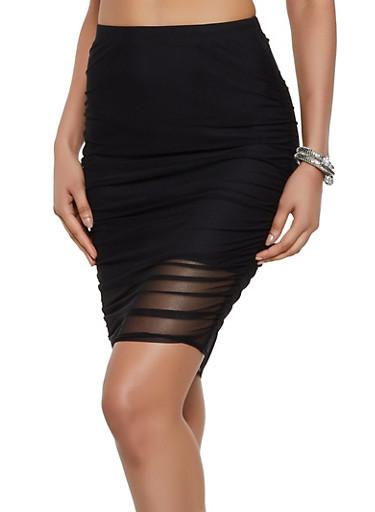 Mesh Ruched Pencil Skirt,BLACK,large