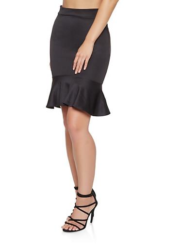 Ruffled Scuba High Low Skirt,BLACK,large