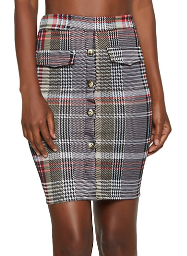 Plaid Button Detail Pencil Skirt,MUSTARD,large