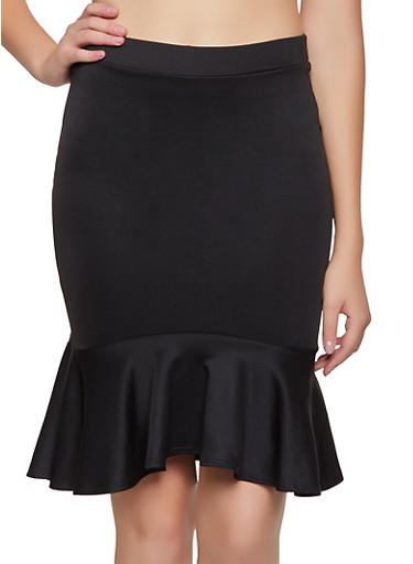 Scuba Knit Ruffled Pencil Skirt,BLACK,large