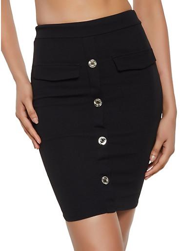 Button Front Midi Pencil Skirt,BLACK,large