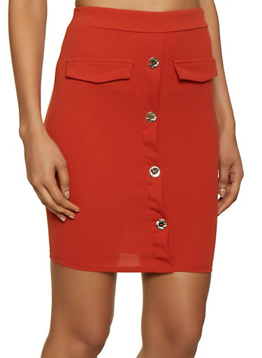 Button Front Midi Pencil Skirt by Rainbow