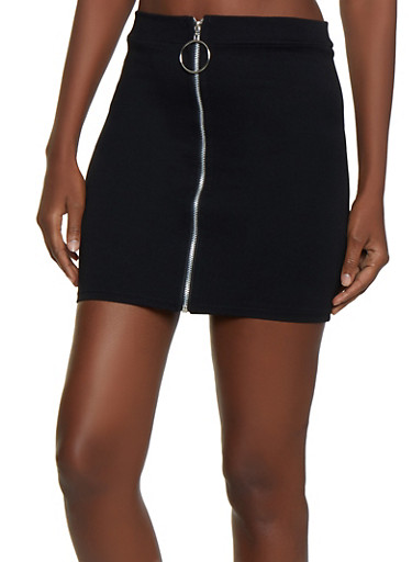 Zip Front Ponte Mini Skirt,BLACK,large