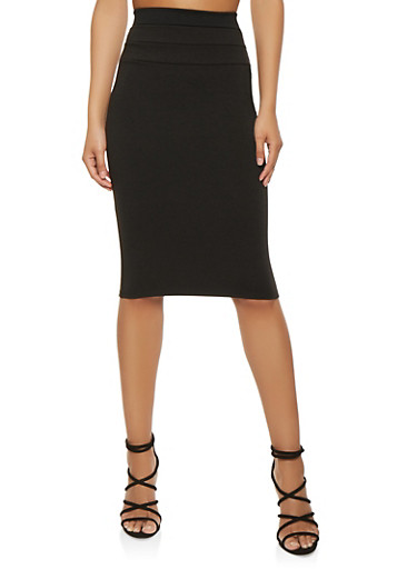 High Waisted Pencil Skirt,BLACK,large