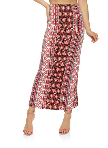 Printed Maxi Skirt,BLACK/WHITE,large
