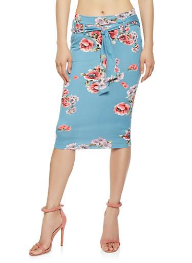 Floral Tie Waist Midi Pencil Skirt | Tuggl
