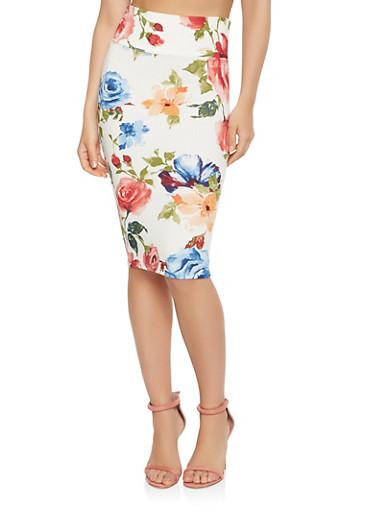Floral Midi Pencil Skirt,IVORY,large