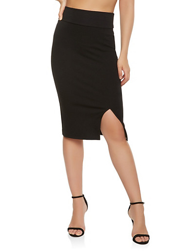 Slit Front Midi Pencil Skirt,BLACK,large