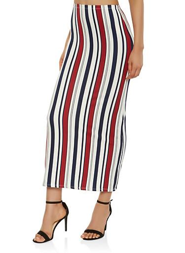 Striped Soft Knit Maxi Skirt,NAVY,large