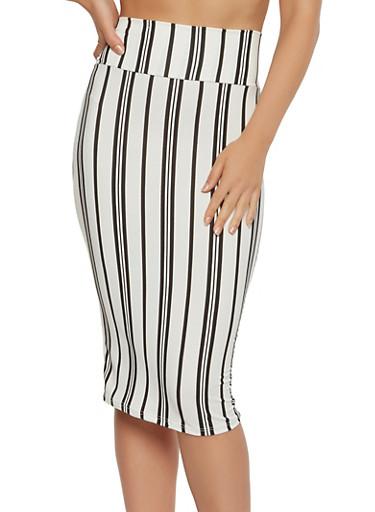 Striped Soft Knit Pencil Skirt,WHT-BLK,large