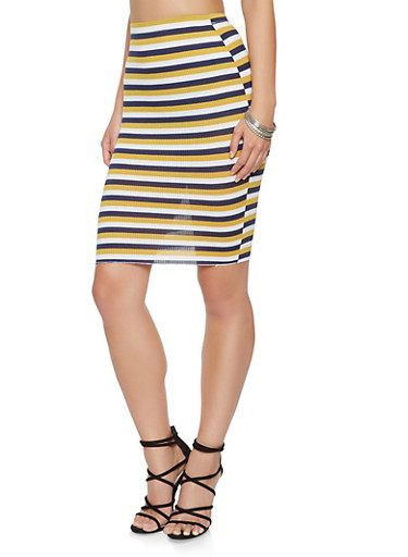 Ribbed Knit Striped Pencil Skirt,NAVY,large
