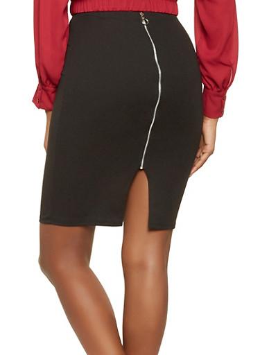 Textured Knit Zip Back Pencil Skirt,BLACK,large